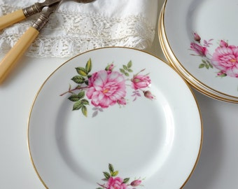 6 Vintage China Royal Grafton floral fine-bone china plates
