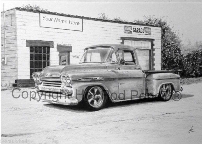 1959 Chevrolet Apache Pickup Truck Customized Pencil Drawing