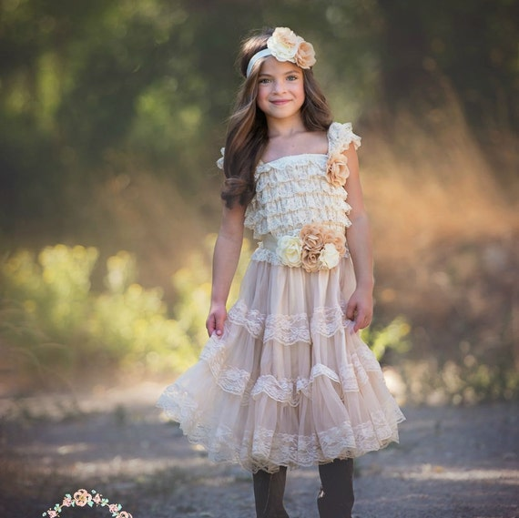 Items Similar To Flower Girl Dress, Champagne Lace Flower