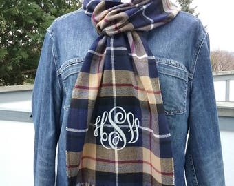 Plaid Winter Scarf with Monogram,  Navy Burgundy Camel White Plaid Scarf Personalized