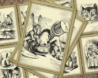 """NEW Alice in Wonderland - Edition 2 - 2.5x3.5"""" - Set of 8 - Digital Labels, Tags, Cards, ACEOs - Steampunk Downloads, Printables"""