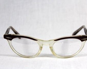 1950s / 60s Vintage Horn Rimmed Reading Glasses / Brown Faux Wood Grain look