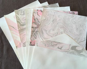 12pc Pink and Gray Suminagashi Water Marbled Stationery Gift Set