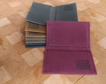 Minimalist // Card Wallet // Slim // Waxed Canvas // Simple // WINE
