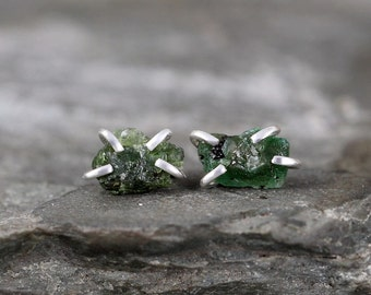 Emerald Earrings - Raw Emerald Stud Earring - Sterling Silver - May Birthstone - Green Raw Gemstone Jewellery - Made in Canada