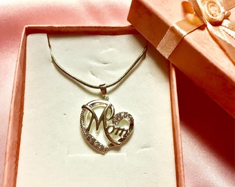 "Mom, Necklace, 925 Sterling Silver 22"" Chain! Perfect for Mother's  Day!!"