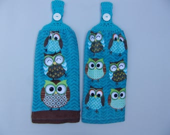 Superior Hanging Dish Towels, Crocheted Top Hand Towel, Set Of 2, Owl Kitchen Towel
