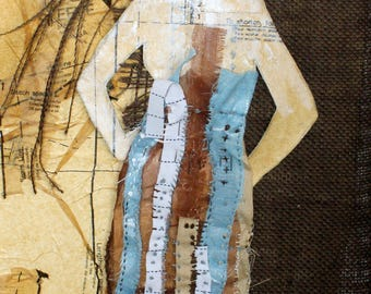 Embroidered Fashion Illustration on canvas 10x20 Sackcloth & Satin, original mixed media collage by Angie Brown