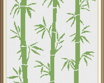 Bamboo Cross Stitch Pattern PDF Chart Abstract Art Instant Download Unique Original Modern Cross Stitch