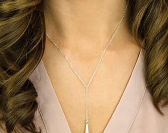 Tear drop lariat necklace - gold drop necklace - layered necklace - silver drop necklace - long drop necklace - drop layering necklace