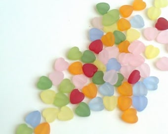Tiny Translucent Heart Beads Multicolor Assortment (100 pc) Acrylic 3/8 inch DIY Bracelet