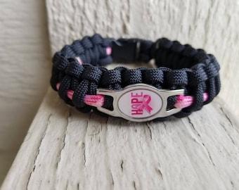 Breast cancer hope paracord bracelet