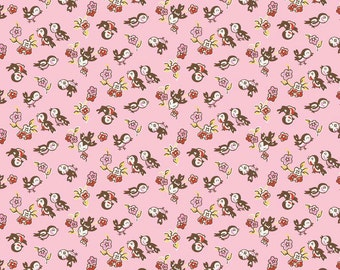 1930s Style Bird Quilt Fabric, Penny Rose Milk, Sugar & Flower C4343 Pink Magpie, Reproduction Feedsack Fabric, Baby Quilt Fabric, Cotton