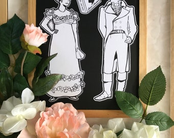 Jane Austen's Pride & Prejudice magnets to color. Mr. Darcy and Elizabeth Bennet Party favors, gift idea for Austenites / Janeites! Bookish