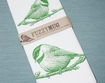 Chickadee Bird Tea Towel in Spring Green - Hand Printed Flour Sack Tea Towel