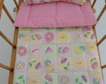 """Doll Bedding, Doll Blanket Doll Pillow, Pink Doll Bedding, 18"""" Dolls, Pink Blanket Set, Doll Bedding Set, 2 Piece Doll Bedding, Handmade New"""