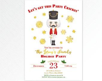 Nutcracker Christmas invitation, Let's get this party crackin', winter printable invitation, digital invitation
