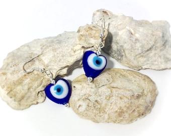 Evil Eye Earrings, Blue Heart Earrings, Lamp Work Glass Earrings, Blue Bead Jewelry, Heart Drop Earrings, Silver Earrings, OOAK Gift for Her