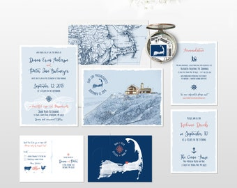 Destination wedding invitation Cape Cod Massachusetts illustrated wedding invitation Coastal wedding lighthouse vintage Deposit Payment
