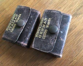 Antique Miniature Foreign Language Dictionaries, Italian, German