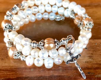 Handmade 5 decade rosary wrap bracelet featuring freshwater pearls and tibetan silver