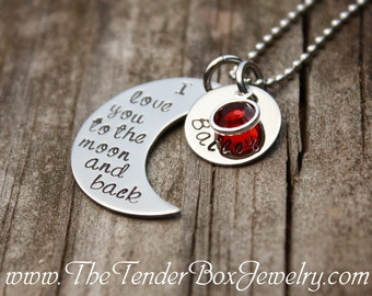 personalized necklace I love you to the moon and back hand stamped moon and name pendant necklace  Mother's day PXBCX