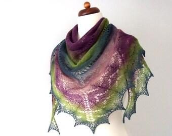 knit prayer shawl, handknit lace shawl, triangle wool scarf, purple green teal
