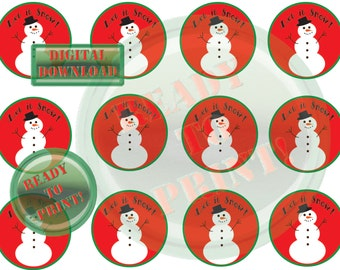 Holiday Snowman Cupcake Topper Printable Let It Snow Digital Collage Sheet Cake Sign Gift Tags Christmas Party Favor Scrapbook Embellishment