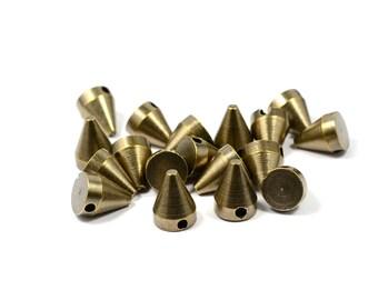 10 Pcs.  Antique Brass  8x10 mm Spike 1 Hole Findings
