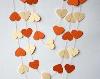 Heart garland - Cream orange heart garland - Valentine decor - Cream orange garland - Paper garland - Wedding decoration, KCO-3046