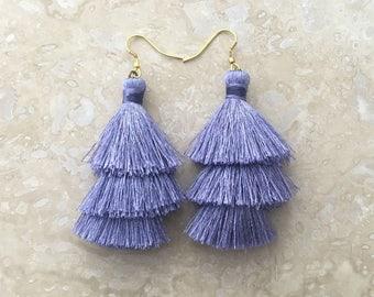 Zara Silk Layered Tassel Earrings, Silver Tassel Earrings, Modern Stylish Earrings,Pantone Harbor Mist, Wedding Earrings, Trending Earrings