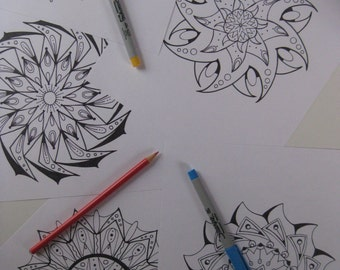 Instant Download Mandala Coloring Pages - 5 Printable Designs  - Set 8