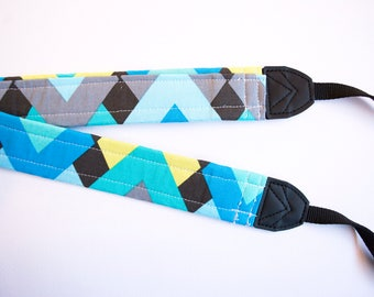 Blue + Green Geometric DSLR Camera Strap