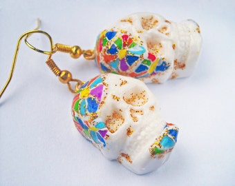 Rainbow skull earrings Sugar skull earrings Day of the dead earrings White skull earrings Sugar skull jewelry Dia de los muertos earrings
