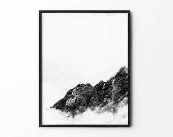 Mountain Print, Nature Wall Art, Foggy Mountain, Snowy, Scandinavian, Winter Art, Black and White, Photography Print, Natural Decor