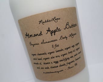 FREE SHIPPING/SPF/Vegan/Organic Almond Apple Butter Organic Sunscreen Body Lotion- with Organic Chamomile, Lavender & more- 8oz.