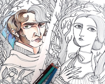 2 Coloring pages PDF -Jane Eyre and Mr Rochester - Jane Eyre Charlotte Bronte - Instant download - Art Printable illustration