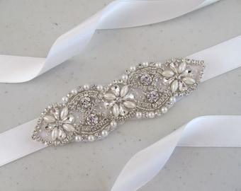 Pearl And Rhinestone Demi Sash Bridal Sash,Bridal Accessories,Bridal Belt and sashes,Ribbon Sash,Style #DS3