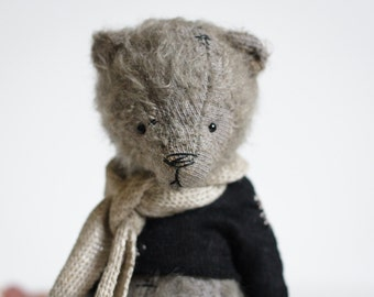 Made To Order Mohair Teddy Bear Knitted Sweater Linen Scarf 7 Inches Stuffed Animal Handmade Toy Artist Teddy Bear Christmas Gift For Mom