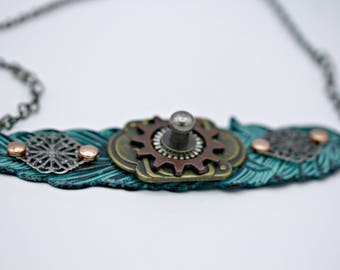 Steampunk Industrial Patinated Leaf Pendant on 16 Inch Chain