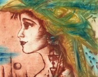 Spring Morning, dry point, intaglio, original etching, original art, handprinted