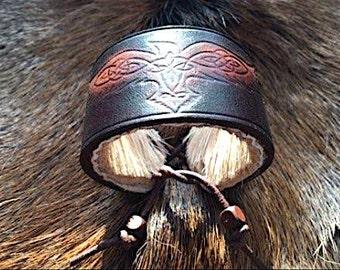Celtic raven leather wrist cuff
