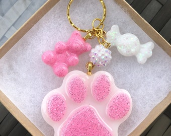 Pink Teddy Bear Paw Keychain