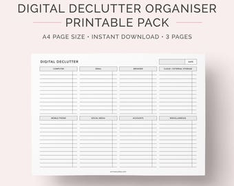 Digital Declutter Printable Pack | Computer and File Organiser | Cleaning Checklist | Instant Download | A4