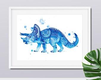 Dinosaur Wall Art - Kids Dinosaur Art Boys Nursery Art Mandala Prints Dinosaur Prints Wall Decor Boys Room Decor Dinosaur Gifts Triceratops