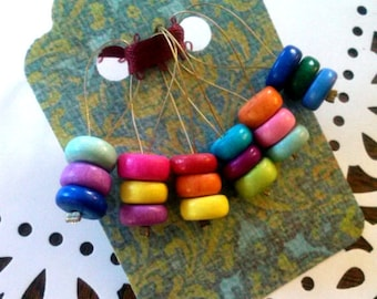 """6 KNITTING Stitch Markers - Custom-Sized Snag-free """"Candy Necklace"""" Markers - Handmade Wooden Rainbow Markers for Knitters - Knitting Gift"""