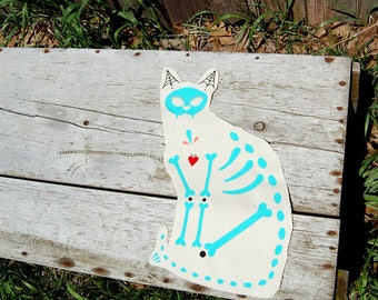 CAT GIFT Custom Pillow * Dia de los Muertos Hand Painted Canvas Kitty Portrait Day of the Dead, Graduation Mother's Day