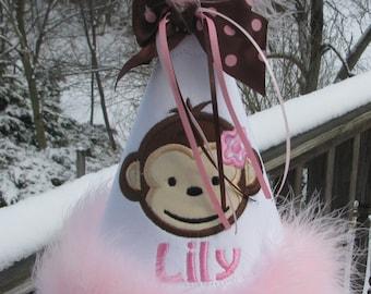 birthday party hat, mod monkey birthday hat, first birthday hat free personalization made to match my mod monkey birthday dress