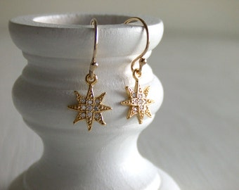 Star Burst Earrings - 16K Gold Plated - Cubic Zirconia - Constellation - Shooting Star - Girlfriend Gift - Gift for Her