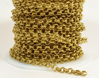 10ft 4.8mm Rolo Chain - Raw Brass - 4.8mm Links - CH80